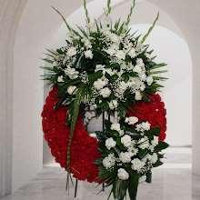 Corona Funeraria roja cabezal blanco variado